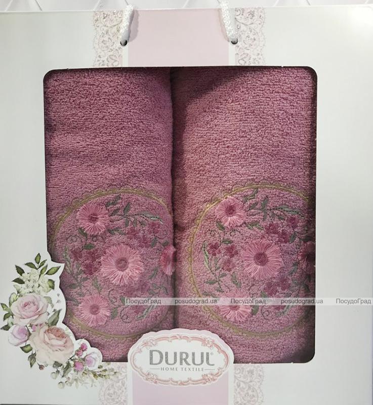 Набір 2 рушника Durul M3 фіолетові 3D з вишивкою (50х90 та 70х140см), бавовна