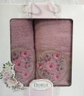 Набор 2 полотенца Durul M3 сиреневые 3D с вышивкой (50х90 и 70х140см), хлопок