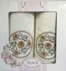 Набор 2 полотенца Durul M3 молочные 3D с вышивкой (50х90 и 70х140см), хлопок