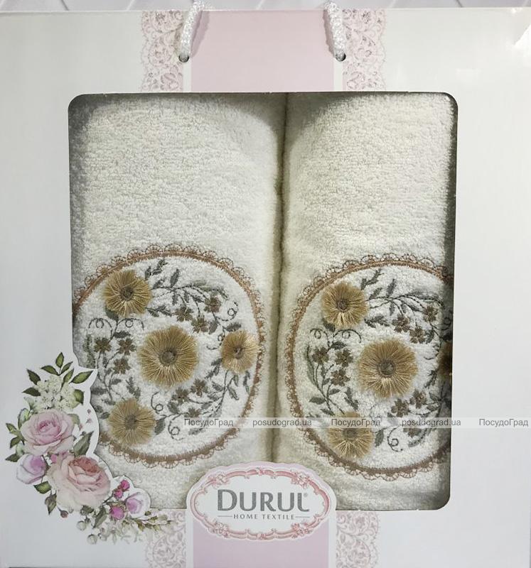Набір 2 рушника Durul M3 молочні 3D з вишивкою (50х90 та 70х140см), бавовна