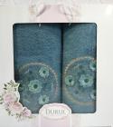 Набор 2 полотенца Durul M3 синие 3D с вышивкой (50х90 и 70х140см), хлопок