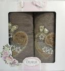 Набор 2 полотенца Durul M2 зеленые 3D с вышивкой (50х90 и 70х140см), хлопок