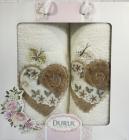 Набор 2 полотенца Durul M2 молочные 3D с вышивкой (50х90 и 70х140см), хлопок