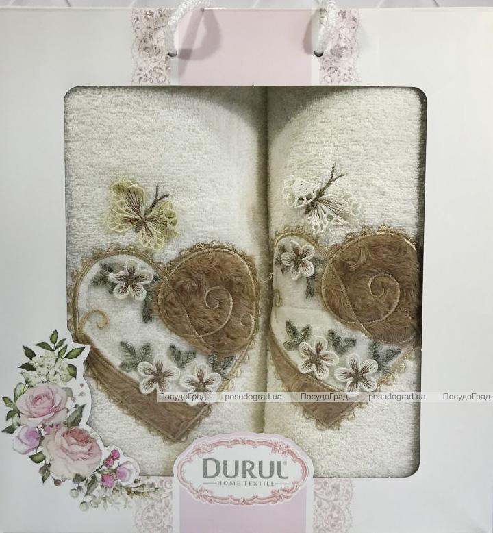 Набір 2 рушника Durul M2 молочні 3D з вишивкою (50х90 та 70х140см), бавовна