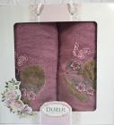 Набор 2 полотенца Durul M2 сиреневые 3D с вышивкой (50х90 и 70х140см), хлопок