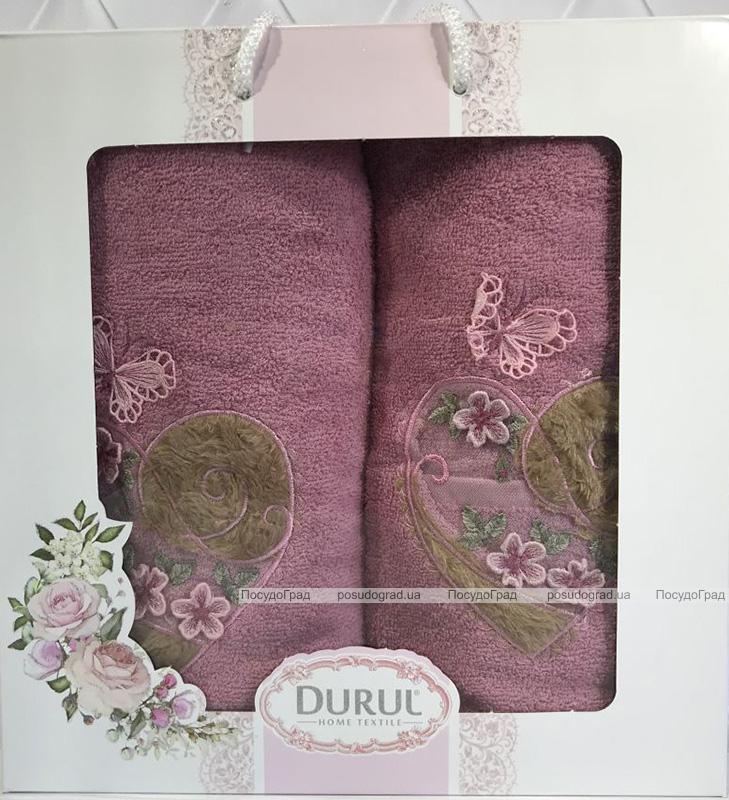 Набір 2 рушника Durul M2 бузкові 3D з вишивкою (50х90 та 70х140см), бавовна