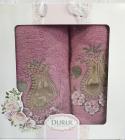 Набор 2 полотенца Durul M1 сиреневые 3D с вышивкой (50х90 и 70х140см), хлопок