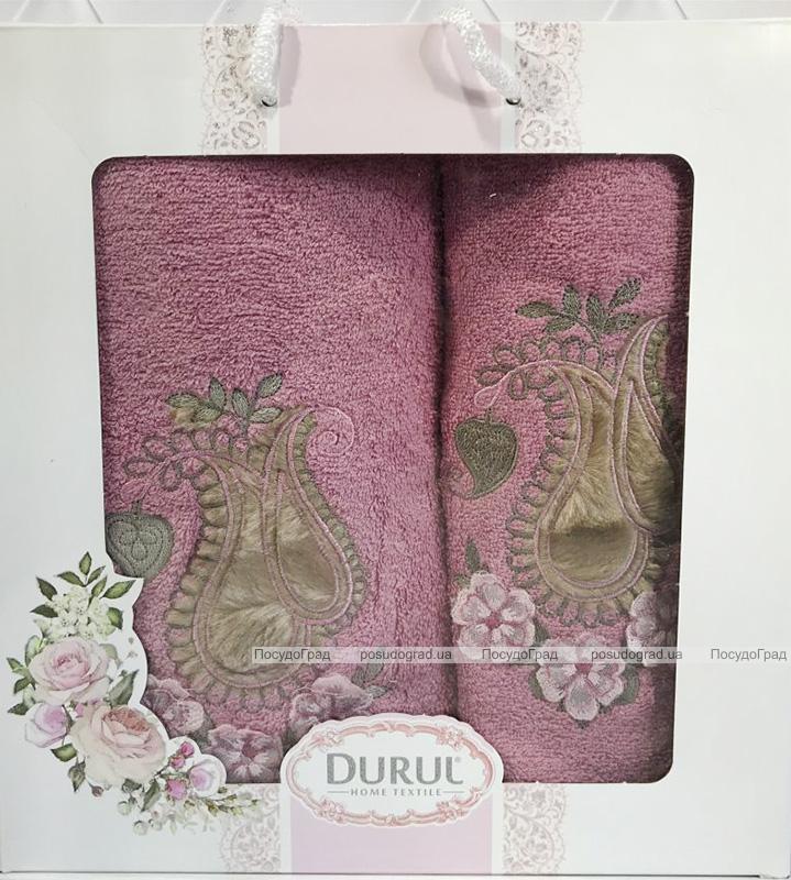 Набір 2 рушника Durul M1 бузкові 3D з вишивкою (50х90 та 70х140см), бавовна