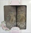 Набор 2 полотенца Durul M1 зеленые 3D с вышивкой (50х90 и 70х140см), хлопок