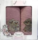 Набір 2 рушники Durul Panda 3D з вишивкою (50х90 та 70х140см), бавовна, рожевий