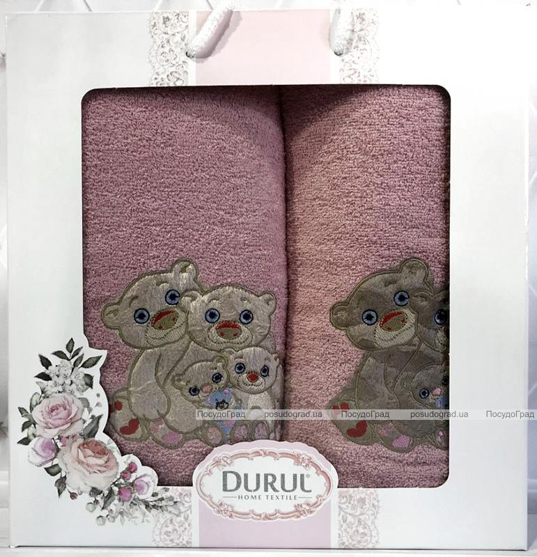 Набор 2 полотенца Durul Panda 3D с вышивкой (50х90 и 70х140см), хлопок, розовый