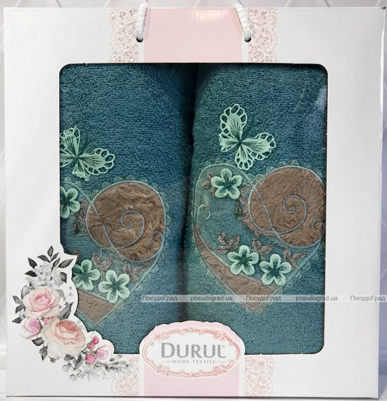 Набор 2 полотенца Durul Heart 3D с вышивкой (50х90 и 70х140см), хлопок