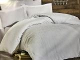 Комплект постільної білизни Nazenin Serena Beyaz Євро (4 наволочки) білий, жакардовий сатин