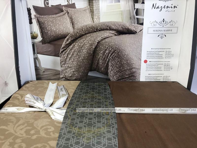 Комплект постельного белья Nazenin Serena Kahve Евро (4 наволочки) кофейный, жаккардовый сатин