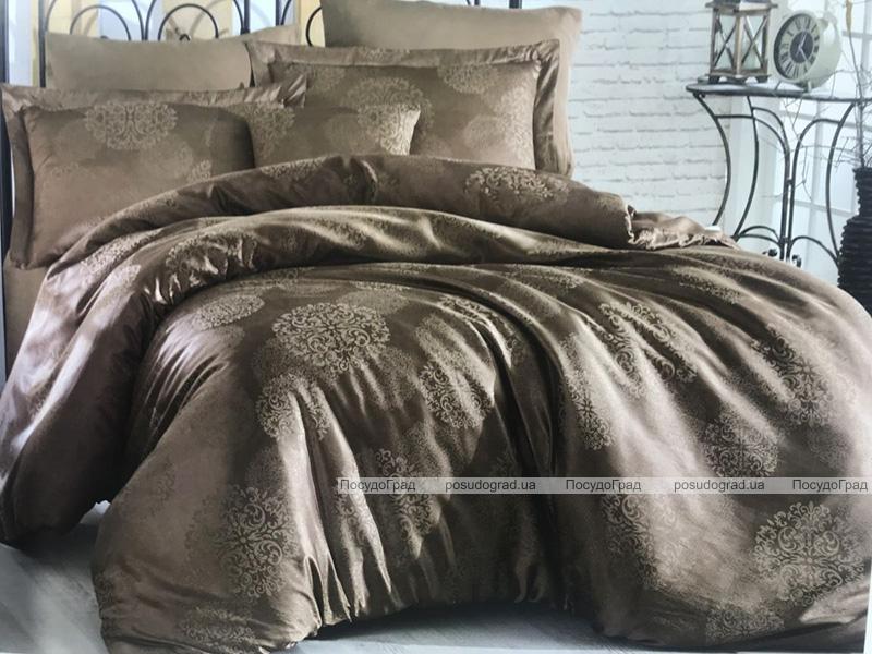 Комплект постельного белья Nazenin Sweta Kahve Евро (4 наволочки) кофейный, жаккардовый сатин