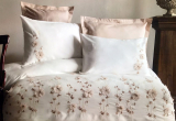 Комплект постельного белья Pupilla Liza Ekru Евро (4 наволочки), сатин с 3D вышивкой