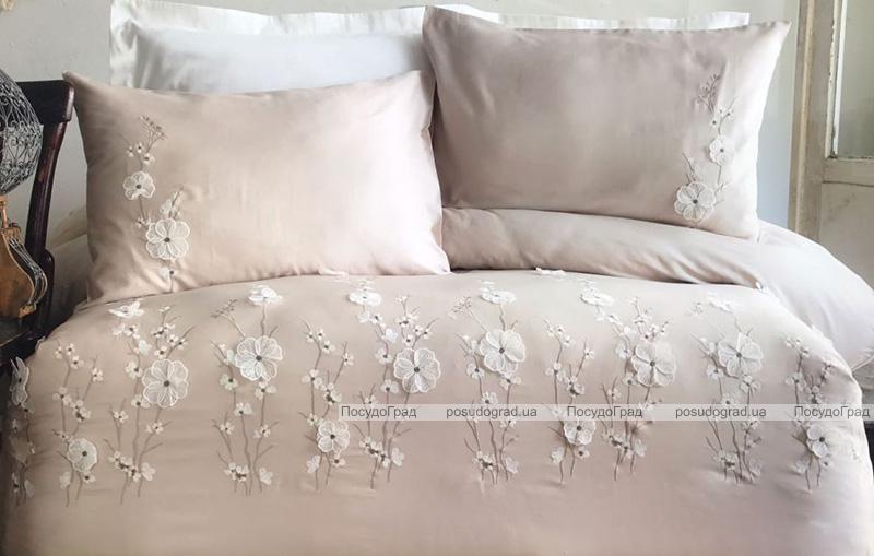 Комплект постельного белья Pupilla Liza Kapicino Евро (4 наволочки), сатин с 3D вышивкой