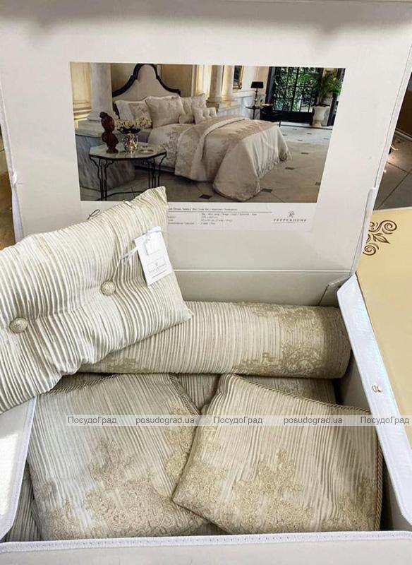 Покрывало Pepper Home Linzy Gold 270х260см с наволочками и декоративными подушками, сатин