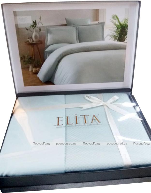 Комплект постельного белья Elita Mint Евро ментоловый (4 наволочки), жаккардовый бамбук с сатином