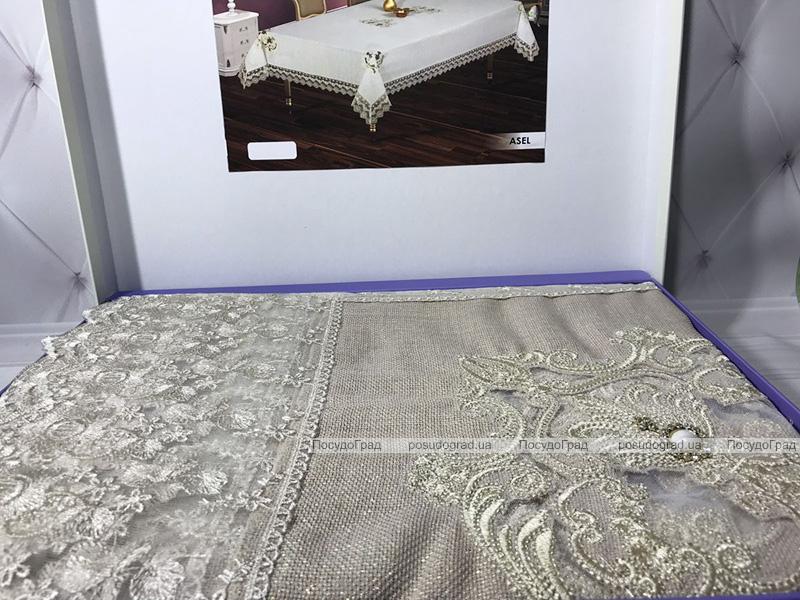 Скатерть Isadora Asel 160х220см с кружевами и декоративными камнями, серая