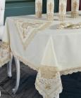 Скатертина Isadora Gelencik 160х220см з мереживами, біла із золотом