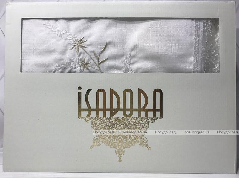 Скатертина Isadora Salkim White 160х220см з мереживами і декоративною вишивкою, біла