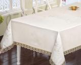 Скатерть Isadora Salkim White 160х220см с кружевами и декоративной вышивкой, белая