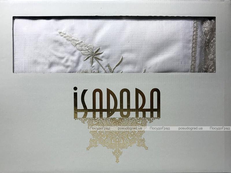 Скатерть Isadora Salkim 160х220см с кружевами, белая с золотом