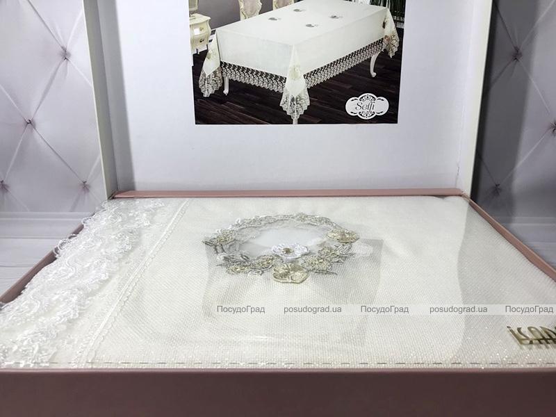 Скатерть Isadora Selfi 160х220см с кружевами, белая с золотом