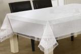 Скатерть Isadora Sumeya White 160х220см с кружевами и декоративной вышивкой, белая
