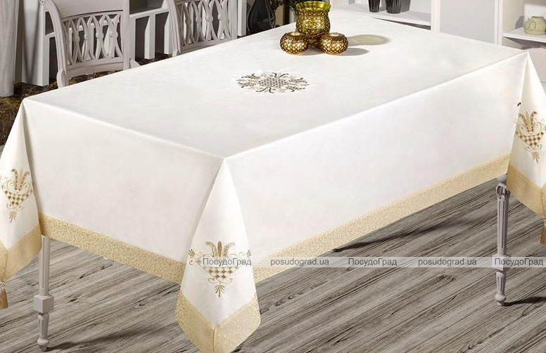 Скатерть Isadora Tuana 160х220см с кружевами и декоративной вышивкой, белая с золотом
