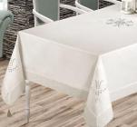Скатертина Isadora Tuana 160х220см з мереживами і декоративною вишивкою, біла