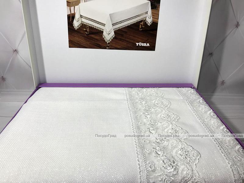 Скатерть Isadora Yursa 160х220см с кружевами, белая