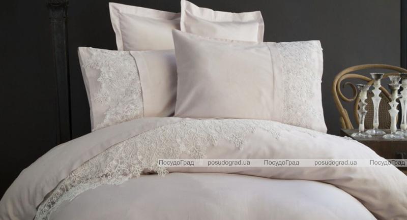 Комплект постельного белья Pupilla Venedik Kapicino Евро (4 наволочки), сатин с 3D вышивкой