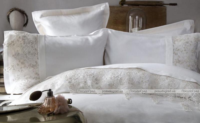 Комплект постельного белья Pupilla Venedik Ekru Евро (4 наволочки), сатин с 3D вышивкой