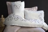 Комплект постельного белья Pupilla Weronika Евро (4 наволочки), сатин с 3D вышивкой