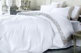 Комплект постельного белья Pepper Home Gloria Pudra (евро) сатин с вышивкой и кружевами