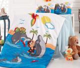 Комплект дитячої постільної білизни Nazenin Dolphin у ліжечко, бавовна
