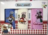 """Набір 3 кухонних рушника First Towel """"Кухар"""" 30х50см махрові"""