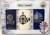 """Набір 3 кухонних рушника First Towel """"Якір"""" 30х50см махрові"""