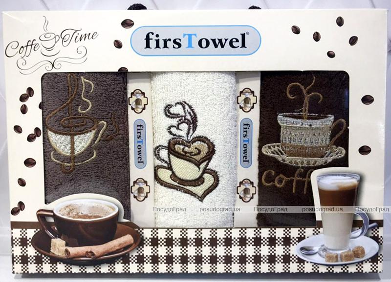 """Набор 3 кухонных полотенца First Towel """"Кофе"""" 30х50см махровые"""