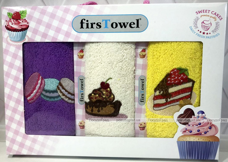 """Набор 3 кухонных полотенца First Towel """"Сладости"""" 30х50см махровые"""