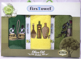 """Набір 3 кухонних рушника First Towel """"Оливки"""" 30х50см махрові"""