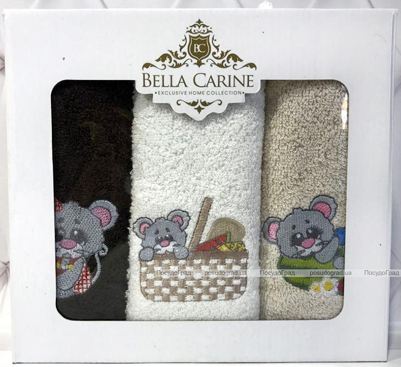 "Набор 3 кухонных полотенца Bella Karina ""Серая Мышка"" 30х50см махровые"