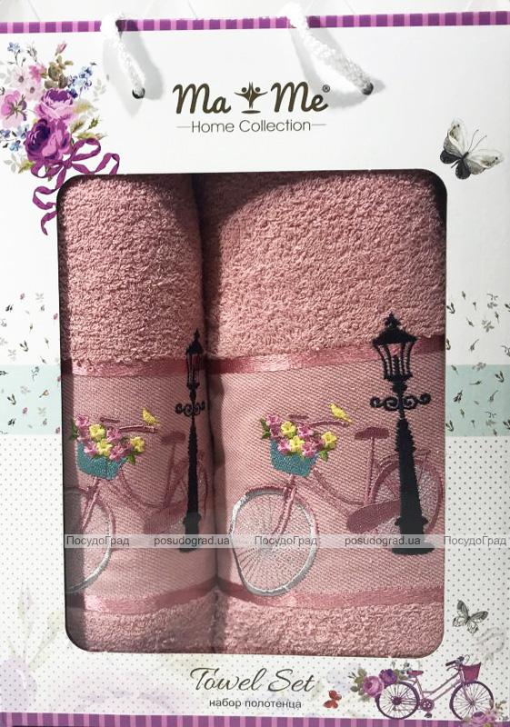 Подарунковий набір рушників Ma Me Jezim банний 70х140см і лицьовий 50х90см, рожеві