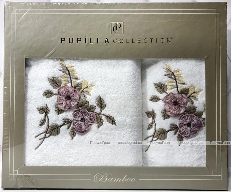 Набір рушників Pupilla Cicek Bambuk, лицьовий 50х90см і банний 70х140см, білий