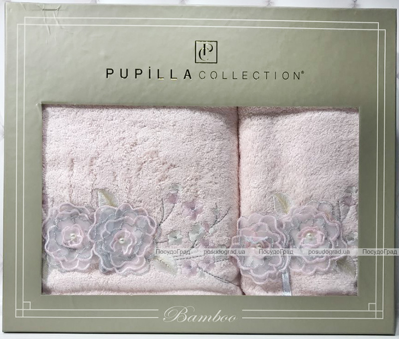 Набор полотенец Pupilla Roselinda Bambuk лицевое 50х90см и банное 70х140см, розовый