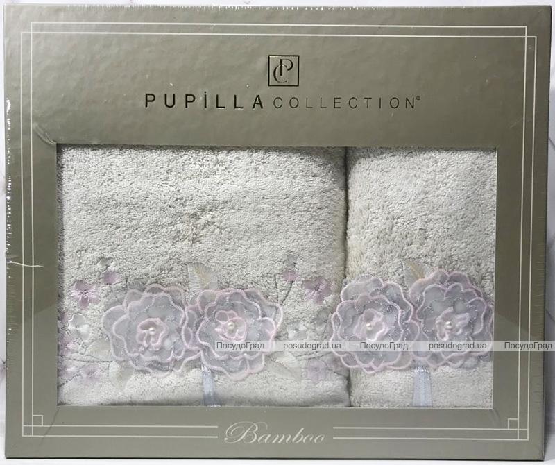 Набор полотенец Pupilla Roselinda Bambuk лицевое 50х90см и банное 70х140см, молочный