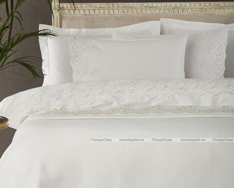 Покривало Pepper Home Valerie Pique 270х260см з наволочками і декоративними подушками, сатин