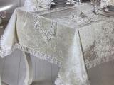 Набір для сервірування Gelin Home Zara Bej скатертина 160х220см, доріжка, серветки і кільця (велюр)
